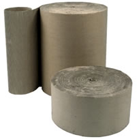 corrugated rolls of cardboard